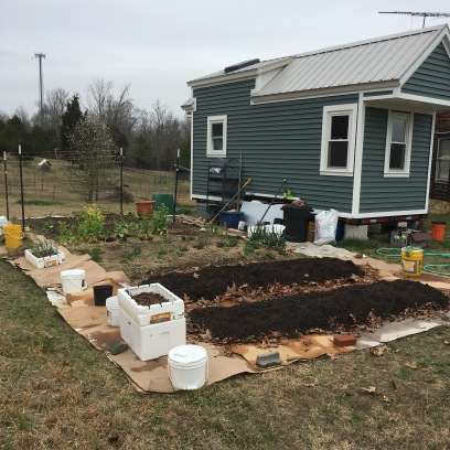 2017 our house next to our garden, with two new beds!
