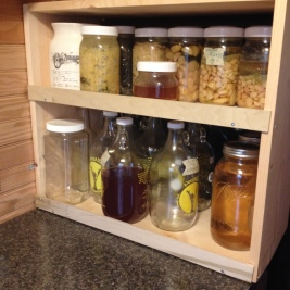 Fermentation shelf full of lots of yummy goodies!