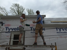 Getting our hands dirty & helping with the trim!